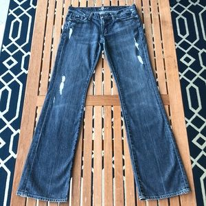 7FAM Distressed Bootcut Jeans, Size 29